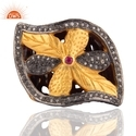 Ruby Pave Diamond Gold Ring Jewelry