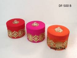 Round Dry Fruit Boxes With Zari Border