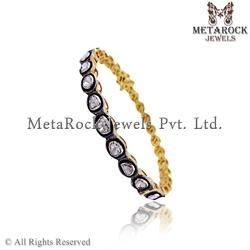 14k Gold Rose Cut Diamond Bangle