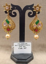 Shubham Creations Golden Designer Kundan Earrings