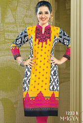 Beautiful Multicolor Cotton Rayon Printed Kurtis