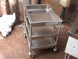 Stainless Steel Silver Grey 3 Tier Utility Trolley, For Industrial