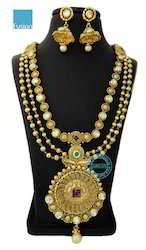 Kundan Pearl Long Wedding Necklace Set