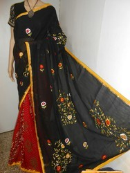 boutique saptaparni Rade /black Tata Parce Work Saree, Hand Made, Packaging Type: Plastic Bag