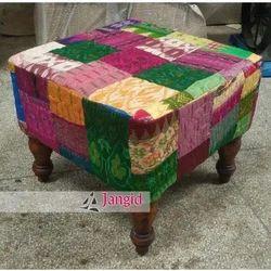 Multicolor Indian Cotton Patch Work Pouf, Size: 46x46x38 cms