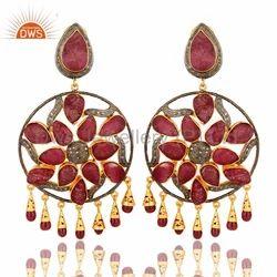 Ruby Gemstone Chandelier Earrings Jewelry