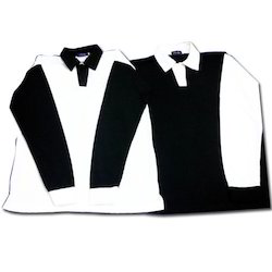 Boys Black And White Full Sleeve Collar T- Shirt