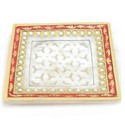 Jali Work Milky White Marble Tray, Mb277