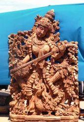 Wooden Saraswati Statue With Annam 7 Feet
