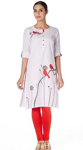bc24f33a00 Kurtis - Mebaz Womens Lenin Casual Wear White Color Retailer from ...