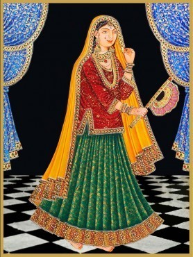 mughal oil painting - Oil Painting