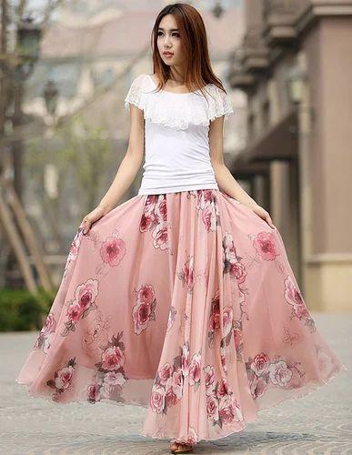 91e4103c1791 Maxi Chiffon Skirt Flower Print Women Skirt Long Skirt ...