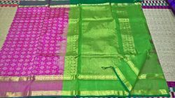 Silkcotton Pink and Green Silk Cotton Saree, Length: 6.3 m (with blouse piece)