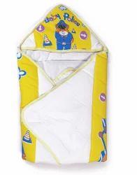 White and Yellow Cotton Baby PTD Dry Robe