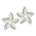 Jewelmaze Glass Pearl Silver Plated Stud Earrings, Size: Free Size