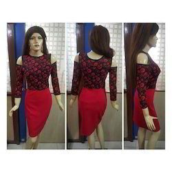 Red Polyester Ladies Skirt