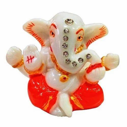 Hindu Religious God Idol Marble Ganesha Car Dashboard Temple