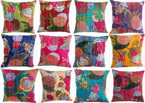 Printed Kantha Cushion Cover, Size: 16 Inch X 16 Inch