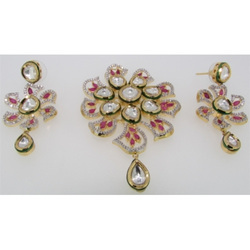 Ultra Shine Akul 925 Sterling Silver Kundan Pendant Set