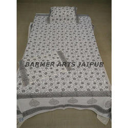 Barmer Arts White Cotton Hand Block Printed Bed Sheet, Size: 220*270cm