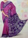 Chanderi Silk Pink, Purple & White Designer Saree