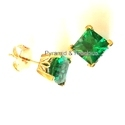 Emerald Stud Gemstone Silver Earring