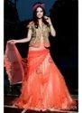 Gold Peach Embroidered Designer Net Lehenga
