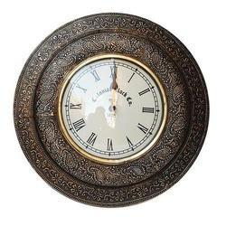 antique brass analog wall clock
