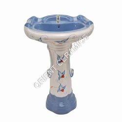 Printed Felspar And Quartz Pedestal Bathroom Wash Basin
