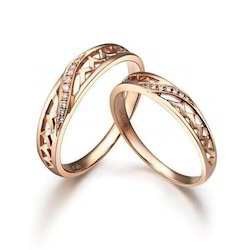Couple Matching Band In 14k Rose Gold