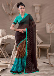 Multicolor Printed Georgette Saree