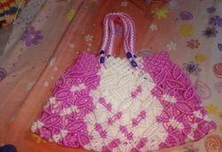 Pink White Macrame Bags