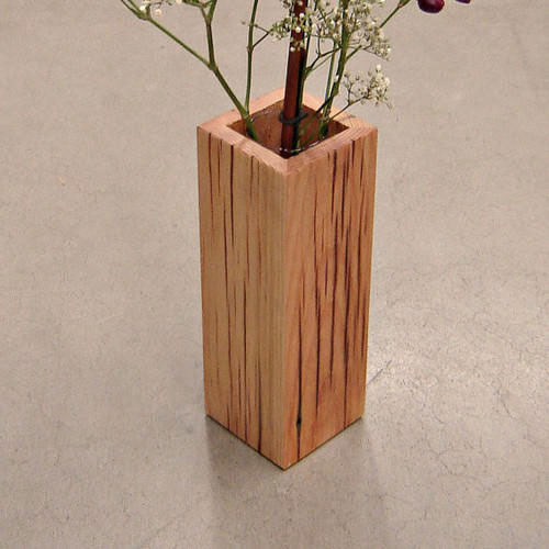 Square Wooden Flower Vase