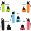Black Blue Orange Green 600ml To 700ml Silicon Foldable Sport Bottle