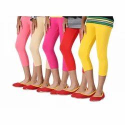 Pink Mid Waist Lux Lyra Capri Leggings, Casual Wear, Slim Fit