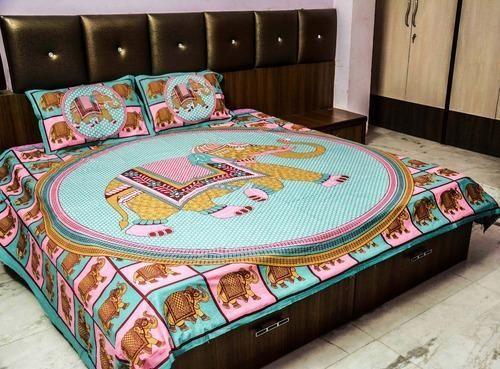 Jaipuri Print Cotton Animal Print Bed Sheet, Size: 270x220 Cms(Bed Sheet)