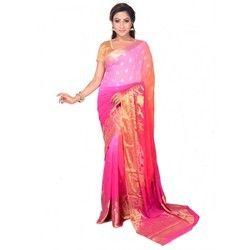 Chiffon Golden Boontis Pink Saree