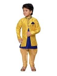 Green And Yellow Raw Silk Sherwani Suit Set For Kids Boys