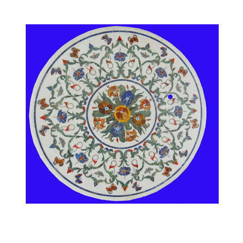 Very Marble Inlay Table Tops - Round Marble Inlay Table Tops  IM28