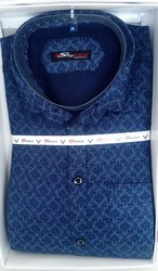 Blue Men Printed Cotton Shirt