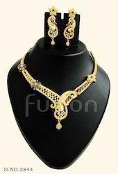 Cubic Zircon Pearl Necklace Set