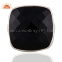 Cushion Black Onyx Gemstone Sterling Silver Rings Jewelry