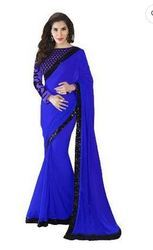 Blue Georgette Saree For Women