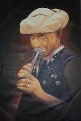 Oil On Canvas Indian Musician Painting, Size: 24''x36''