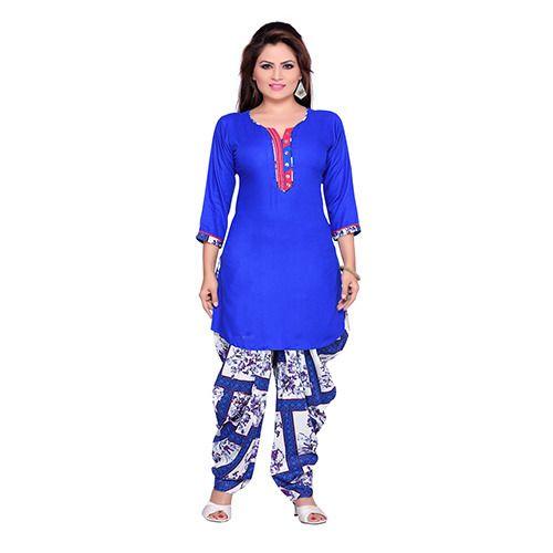 3c0e0e9213b Casual Wear Cotton Royal Blue Patiala Suit