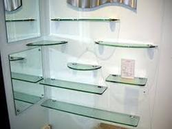 Grey Wall Mounted Shelf Glass, For Showroom, 4 Shelves