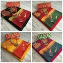 Pot Saree With Contrast Blouse And Jewellery