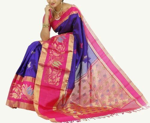 c00622b60f Silk Half Fine Zari Gold Kuppadam Pattu Sarees, 6 M (with Blouse Piece)