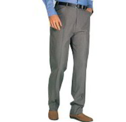 Grey Cotton Mens Formal Trousers