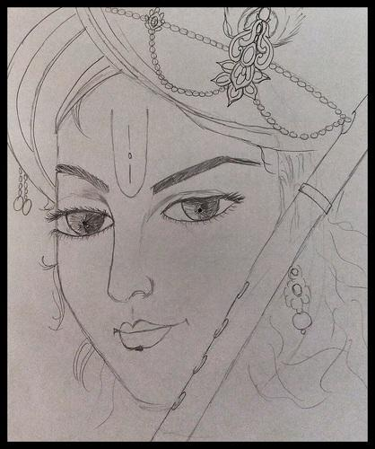 Product image read more pencil sketch krishna
